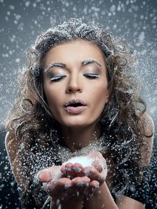 Woman With Snow Make-up. Christmas Snow Queen Stock Photography