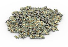3d Lot Of Dollar Packs Stock Photo