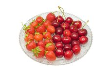Free Strawberries Cherries Isolated Stock Photography - 2772942