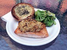 Stuffed Salmon With Broccoli Royalty Free Stock Image