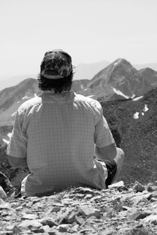 Hiker In Black And White Royalty Free Stock Photos