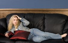Free Model On Couch Stock Image - 2776231