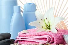 Spa Flower Stone Towel Fun Royalty Free Stock Images