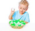 Free Boy With A Basket Of Eggs Stock Photo - 27706830