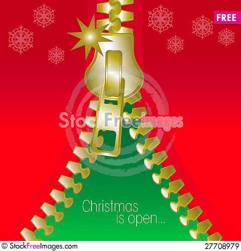 Free Christmas Open Zip Square Greetings Card Royalty Free Stock Images - 27708979