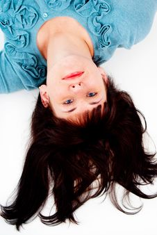Free The Girl Poses While Lying On The Floor Royalty Free Stock Images - 27705379
