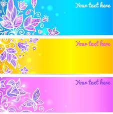 Free Colorful Blue, Yellow And Violet Flower Banners Stock Photos - 27708113