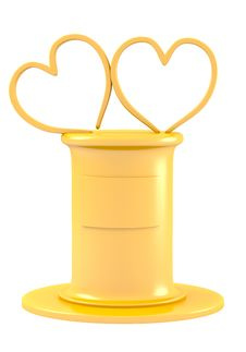 Free Two Abstract Hearts On Golden Pedestal Stock Images - 27708174