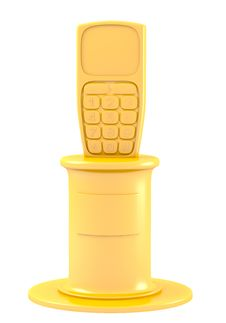 Mobile Phone On Golden Pedestal Royalty Free Stock Photo
