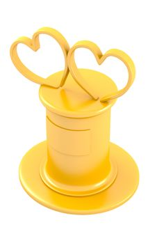 Free Two Abstract Hearts On Golden Pedestal Royalty Free Stock Images - 27708189