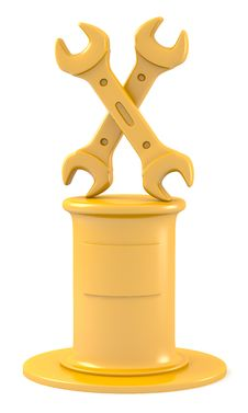 Two Wrenches On Golden Pedestal Royalty Free Stock Photos
