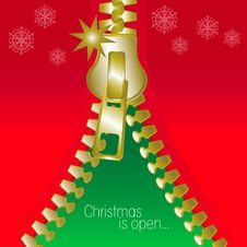 Christmas Open Zip Square Greetings Card Royalty Free Stock Images