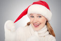 Free Happy Funny Girl In A Christmas Hat Royalty Free Stock Images - 27712219