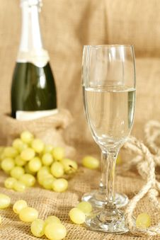 Free Celebratory Champagne With Glasses Royalty Free Stock Image - 27711606