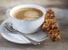 Free Biscotti And A Cup Of Coffee Royalty Free Stock Photography - 27713487