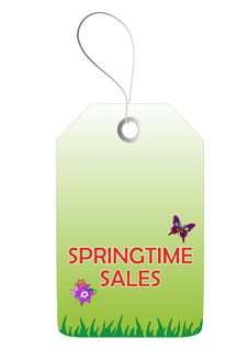 Springtime Sales Tag Stock Photo