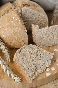 Bread With Oat Flakes Close Up Stock Photos