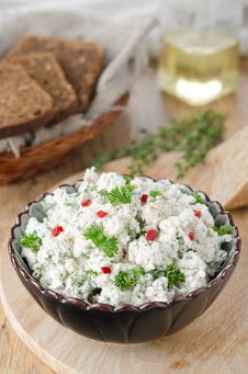 Free Pate Of Cottage Cheese With Herbs And Chilli Stock Image - 27720291