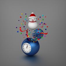Free Snowman Bounced Out From Sphere Alarm Clock Stock Photos - 27720433