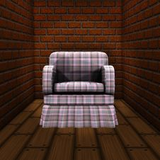 Room With Brick Wall And Armchair Stock Photography