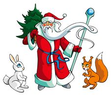 Santa Claus With Animals Stock Image