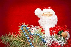 Free Santa Claus On Christmas Eve A Red Background Royalty Free Stock Image - 27727466