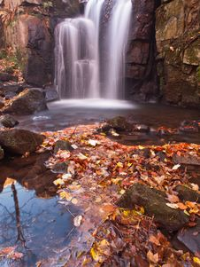 Waterfall In The Autumn Stock Images