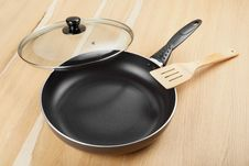 Free Frying Pan With Lid On Table Stock Photography - 27728992