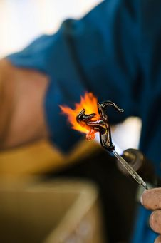 Free Glass Blower Creates A Horse. Royalty Free Stock Photo - 27729185