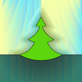 Free Modern Christmas Tree On Light Yellow Curtain Royalty Free Stock Images - 27731779