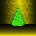Free Conical Christmas Tree On Yellow Floral Pattern Stock Photography - 27731892