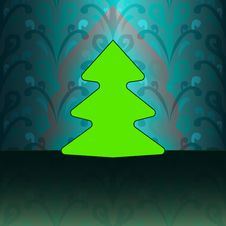 Free Round Shape Christmas Tree On Blue Floral Stock Photo - 27731810