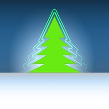 Free Christmas Green Tree Silhouette With Flare Stock Images - 27731814