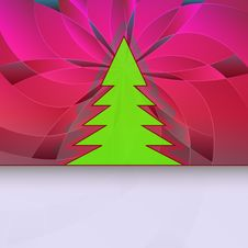 Free Christmas Tree Silhouette On Pink Floral Royalty Free Stock Photography - 27731827