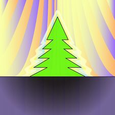 Free Christmas Tree Silhouette On Orange Curtain Royalty Free Stock Photography - 27731837