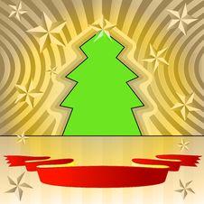 Free Tree Shape With Stars And Ribbon Royalty Free Stock Photos - 27731928