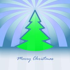 Free Green Christmas Tree And Striped Background Royalty Free Stock Photo - 27731945