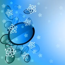 Blue Sphere Slices With Falling Snow Card Royalty Free Stock Image