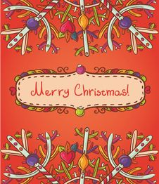 Free Merry Christmas Card With Snowflakes Stock Image - 27734311