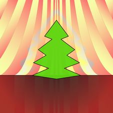 Free Sharp Christmas Tree On Red Curtain Royalty Free Stock Image - 27734546