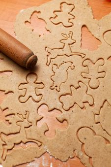 Gingerbread Cookie Dough With Rolling Pin Royalty Free Stock Image
