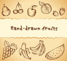 Free Vintage Sketched Fruits Icon Set Royalty Free Stock Photography - 27737207