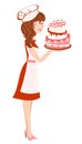 Free Smiling Girl In Red With Cake Royalty Free Stock Photos - 27744218