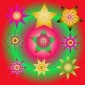 Free Set Abstract Spherical Luminous Gold Stars Stock Photo - 27748280