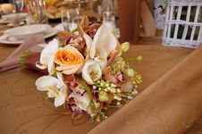 Bride And Groom Table With Bride S Bouquet Stock Image