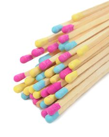 Free Multicolored Matches On White Background Royalty Free Stock Photo - 27744235