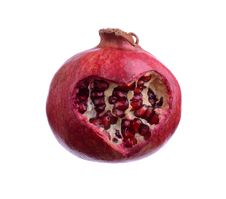 Free Pomegranate With Heart Isolated On White Stock Photos - 27747623