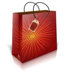 Free Christmas Shoping Bag With Lable Royalty Free Stock Photo - 27751185