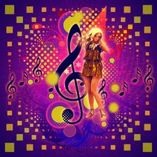 Free Music Background With Girl Royalty Free Stock Photos - 27751218