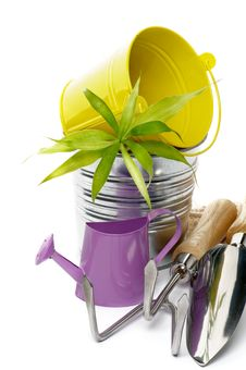Free Watering Can With Gardening Tools Stock Images - 27751554